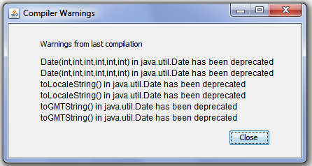 Warnings from last compilation Date has been deprecated
